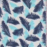 White/Navy/Turquoise Tropical Leaf Georgette