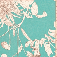 Teal Blue/White Sketch Floral Georgette