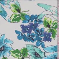 White/Aqua/Seafoam Floral Georgette