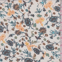 White/Teal/Apricot Stylized Floral Georgette