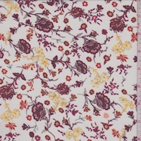 White/Wine/Sand Stylized Floral Georgette