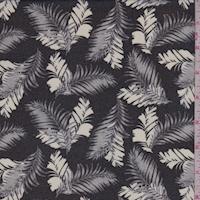 Black/Grey/White Tropical Leaf Georgette