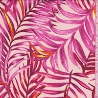 White/Fuchsia Palm Leaf Georgette