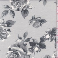 *3 1/2 YD PC--Grey/Dove Rose Bloom Brushed French Terry Knit