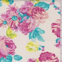 *2 1/2 YD PC--Buttercream/Fuchsia Floral Scuba Knit