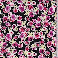 *3 1/4 YD PC--Black/Magenta Garden Bloom Cotton