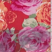 *4 YD PC--Dark Orange Rose Bloom Scuba Knit