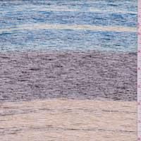 *1 YD PC--Aqua/Navy/Brown Slubbed Stripe Jersey Knit