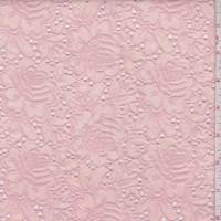 *4 3/8 YD PC--Creamy Pink Linen Blend Embroidered Floral Eyelet