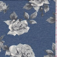 *3 YD PC--Blue/Silver Rose Bloom Brushed French Terry Knit