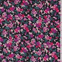 *3 YD PC--Black/Magenta Mini Rose Rayon Challis
