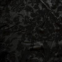 *2 3/8 YD PC--Mystic Black Baroque Burnout Velvet Knit