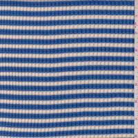 *3 1/4 YD PC--Cream/Blue Stripe Textured Knit