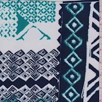 *1 1/2 YD PC--Ocean/Aquamarine Geo Block Print Scuba Knit