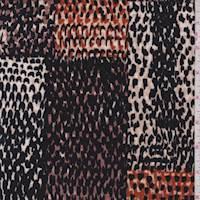 *3 3/8 YD PC--Burnt Orange/Black Snakeskin Patchwork Sweater Knit