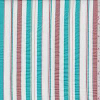 *4 YD PC--White/Aqua/Rose Gold Stripe Cotton