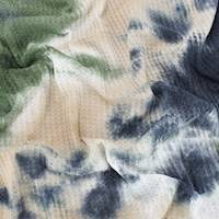 *2 1/2 YD PC--Olive Green/Black/Taupe Beige Tie Dye Waffle Knit