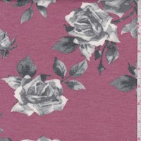 *1 3/4 YD PC--Berry/Grey Rose Bloom Brushed French Terry Knit