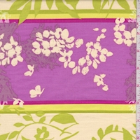 *2 1/2 YD PC--Lime/Fuchsia Botanical Stripe Print Cotton