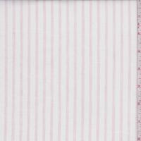 White/Pink Stripe Oxford Shirting