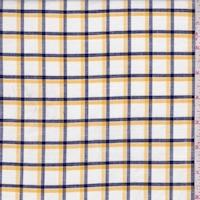 White/Navy/Gold Windowpane Check Shirting