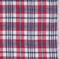 Red/White/Navy Plaid Linen Blend