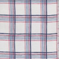White/Blue/Brick Plaid Linen Blend