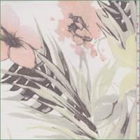 *2 7/8 YD PC--White Multi Tropical Floral Silk Chiffon