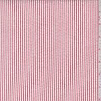 *2 YD PC--Brick Red/White Cotton Stripe Seersucker