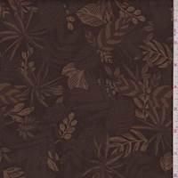 *2 1/4 YD PC--Dark Brown Tropical Floral Print Cotton