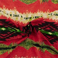 *2 5/8 YD PC--Red/Multi Tribal Stripe Print Polyester Challis