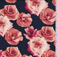 *1 1/4 YD PC--Navy/Coral Rose Floral Poplin