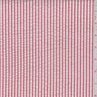*2 1/4 YD PC--Dusty Red/White Cotton Stripe Seersucker