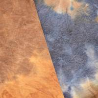 *7/8 YD PC--Gray/Dark Mustard/Indigo Tie Dye French Terry Knit