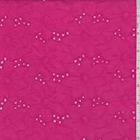 *4 YD PC--Hot Pink Linen Blend Embroidered Floral Eyelet