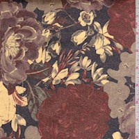 *1 7/8 YD PC--Gold/Rust/Taupe Floral Stretch Velveteen
