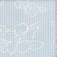*1 7/8 YD PC--White/Powder Blue Stripe Floral Seersucker