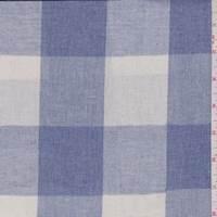 *3 1/2 YD PC--Natural/Denim Blue Check Linen Look