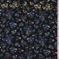 Black Multi Mini Floral Crepe