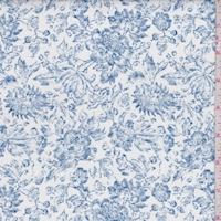 White/Deep Blue Floral Linen Blend