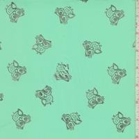 Seafoam Green/Silver Owl Georgette