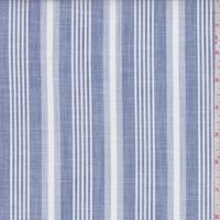 Dusty Blue/White Stripe Cotton Shirting