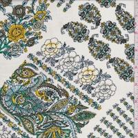 Ivory/Jade/Gold Floral Crinkled Crepe