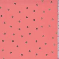 Dark Salmon/Gold Mini Heart Georgette