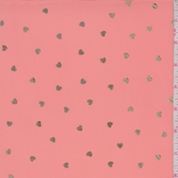 Pink Salmon/Gold Mini Heart Georgette