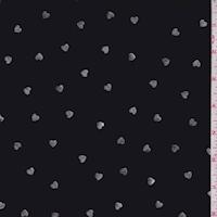 Black/Silver Mini Heart Georgette