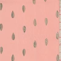 Soft Peach/Gold Foil Leaf Chiffon