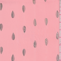 Salmon Pink/Gold Foil Leaf Chiffon