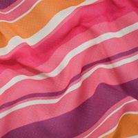 *4 YD PC-- Bubblegum Pink/Orange Multi Semi-Sheer Stripe Printed Rayon Dobby