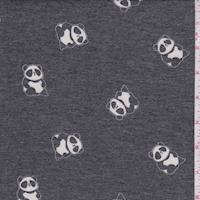 Heather Slate Panda Brushed French Terry Knit